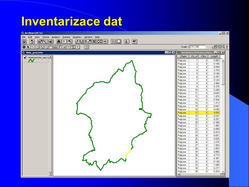 Inventarizace dat zobrazit vrstvy zkontrolovat grafickou složku