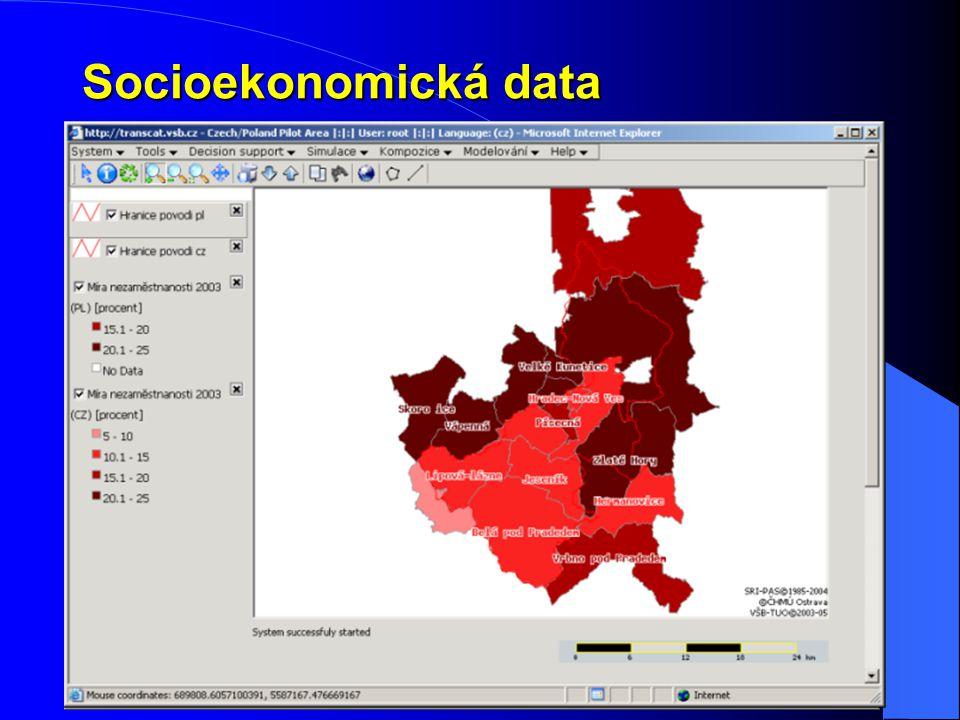 Socioekonomická data Cílem nebylo zhodnotit socioekonomickou situaci a vývoj území, ale jen ukázat možnosti prototypu.