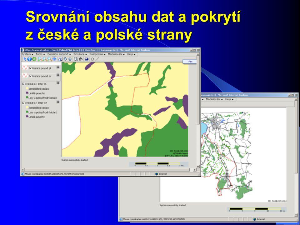 Srovnání obsahu dat a pokrytí z české a polské strany