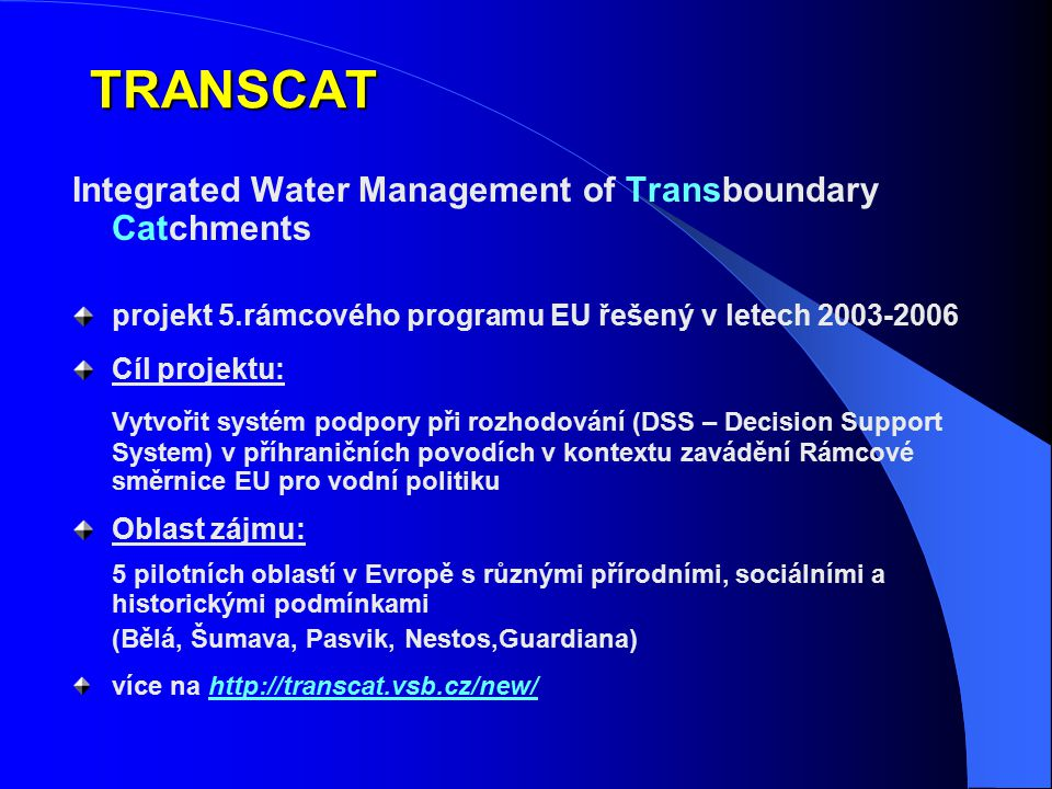 TRANSCAT Integrated Water Management of Transboundary Catchments