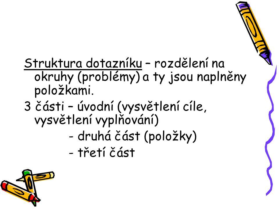 Struktura dotazníku – rozdělení na okruhy (problémy) a ty jsou naplněny položkami.