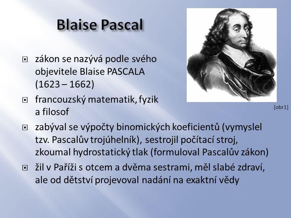 Blaise Pascal zákon se nazývá podle svého objevitele Blaise PASCALA (1623 – 1662) francouzský matematik, fyzik a filosof.
