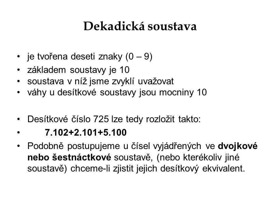 Dekadická soustava je tvořena deseti znaky (0 – 9)