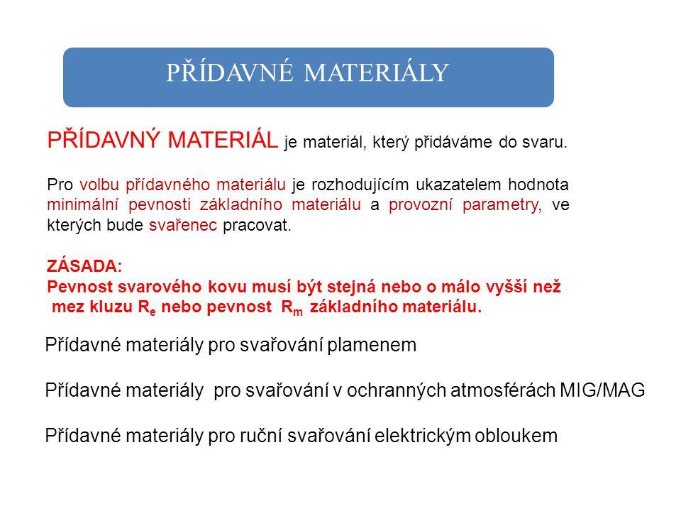 PŘÍDAVNÉ MATERIÁLY PŘÍDAVNÝ MATERIÁL je materiál, který přidáváme do svaru.