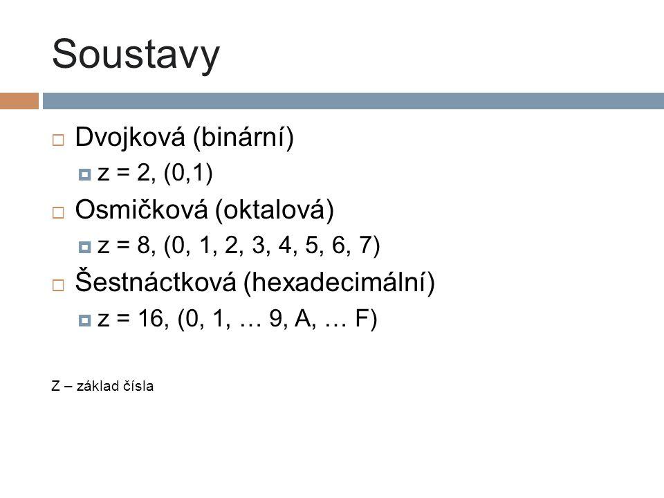 Soustavy Dvojková (binární) Osmičková (oktalová)