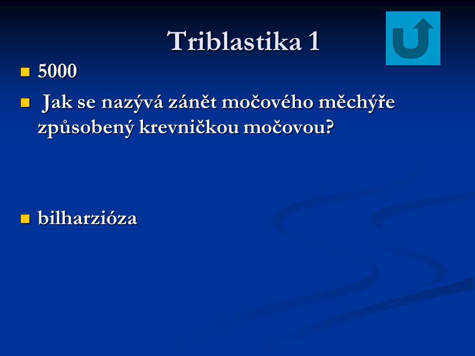 Triblastika 1 5000 Jak se nazývá zánět močového měchýře způsobený krevničkou močovou bilharzióza