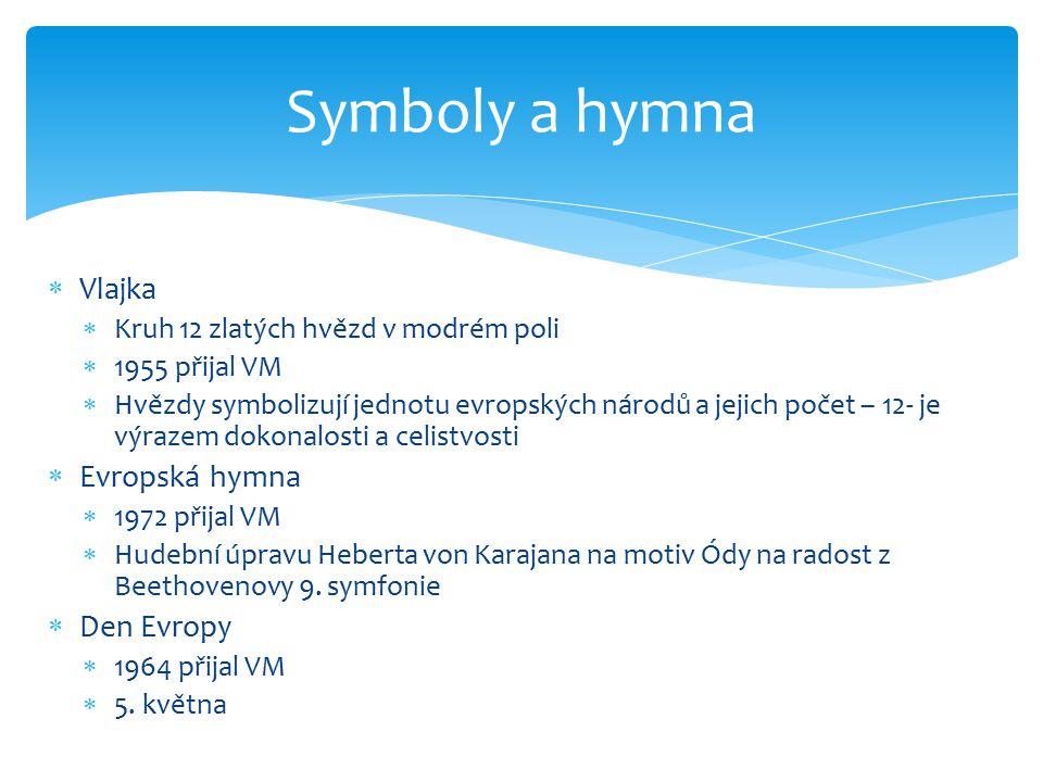 Symboly a hymna Vlajka Evropská hymna Den Evropy