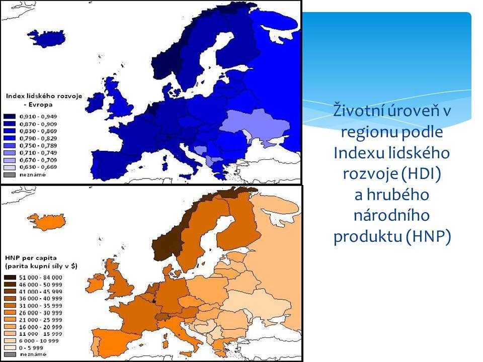 Životní úroveň v regionu podle Indexu lidského rozvoje (HDI) a hrubého národního produktu (HNP)