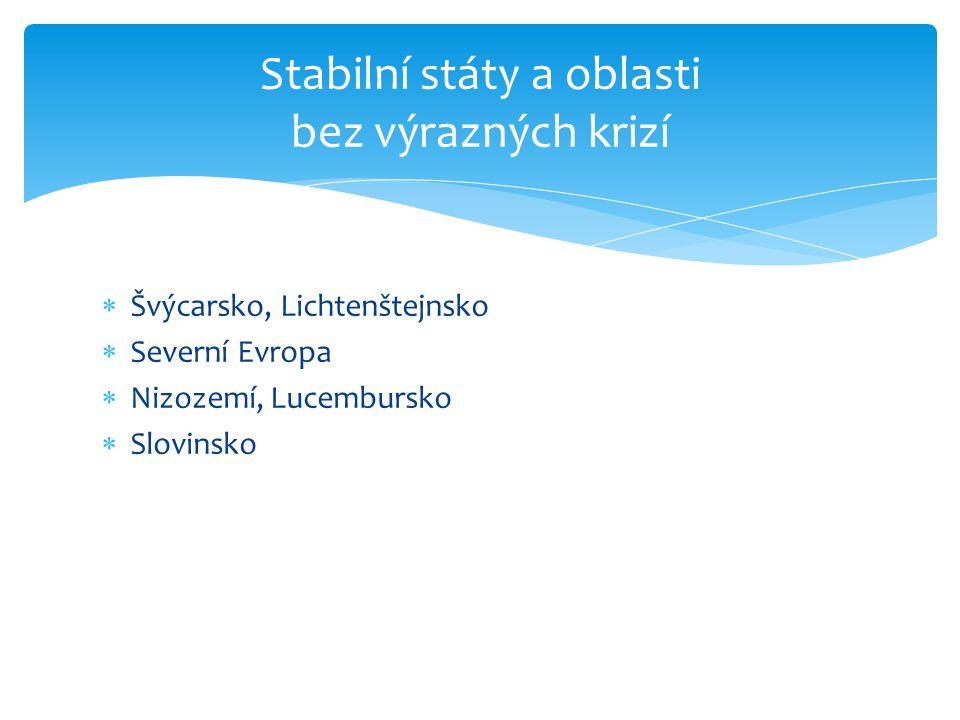 Stabilní státy a oblasti bez výrazných krizí