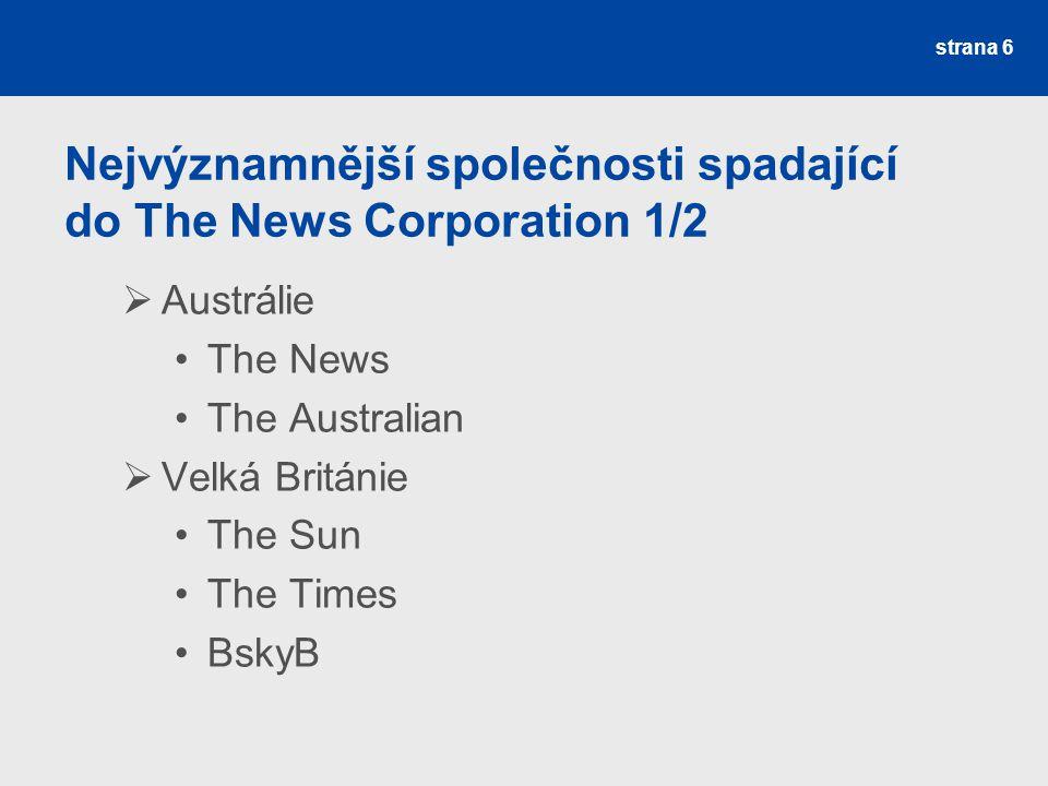 Nejvýznamnější společnosti spadající do The News Corporation 1/2