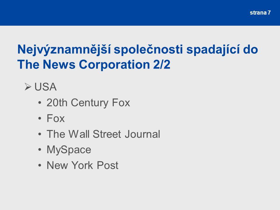 Nejvýznamnější společnosti spadající do The News Corporation 2/2