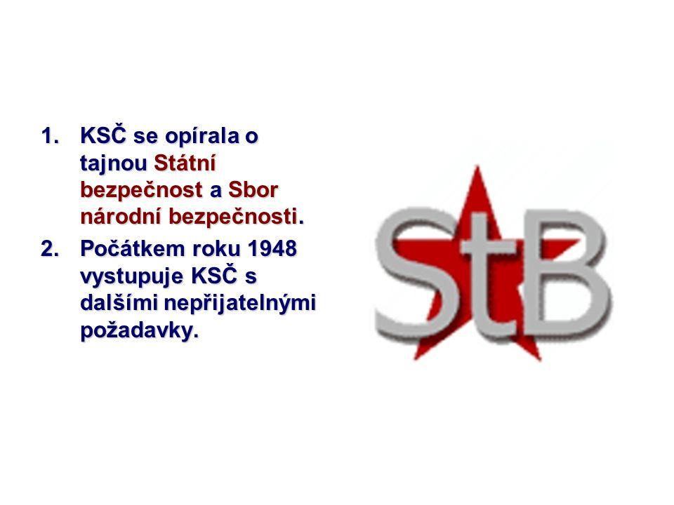 KSČ se opírala o tajnou Státní bezpečnost a Sbor národní bezpečnosti.