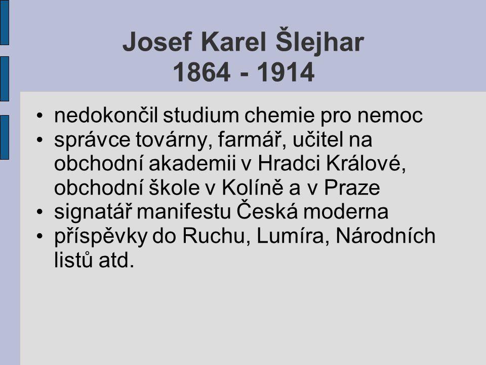 Josef Karel Šlejhar 1864 - 1914 nedokončil studium chemie pro nemoc