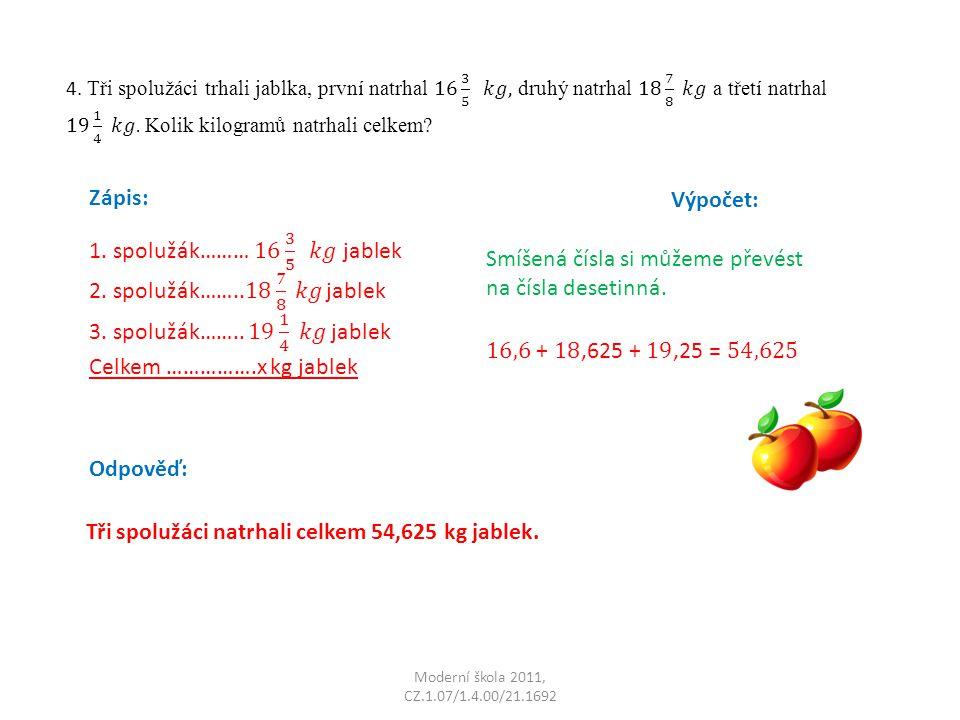 Celkem …………….x kg jablek