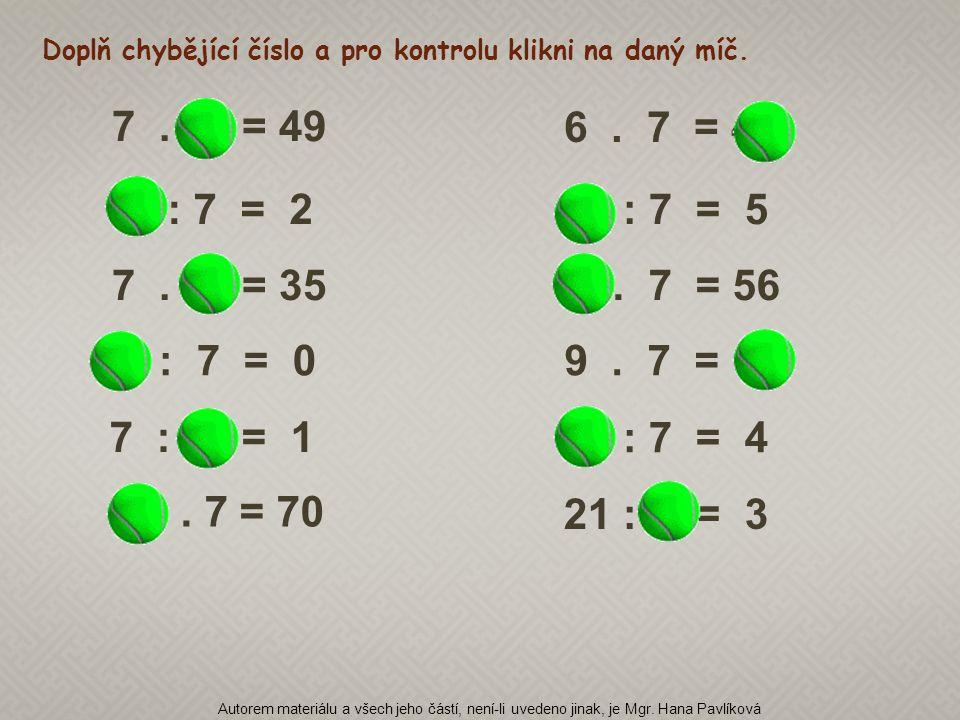 Doplň chybějící číslo a pro kontrolu klikni na daný míč.