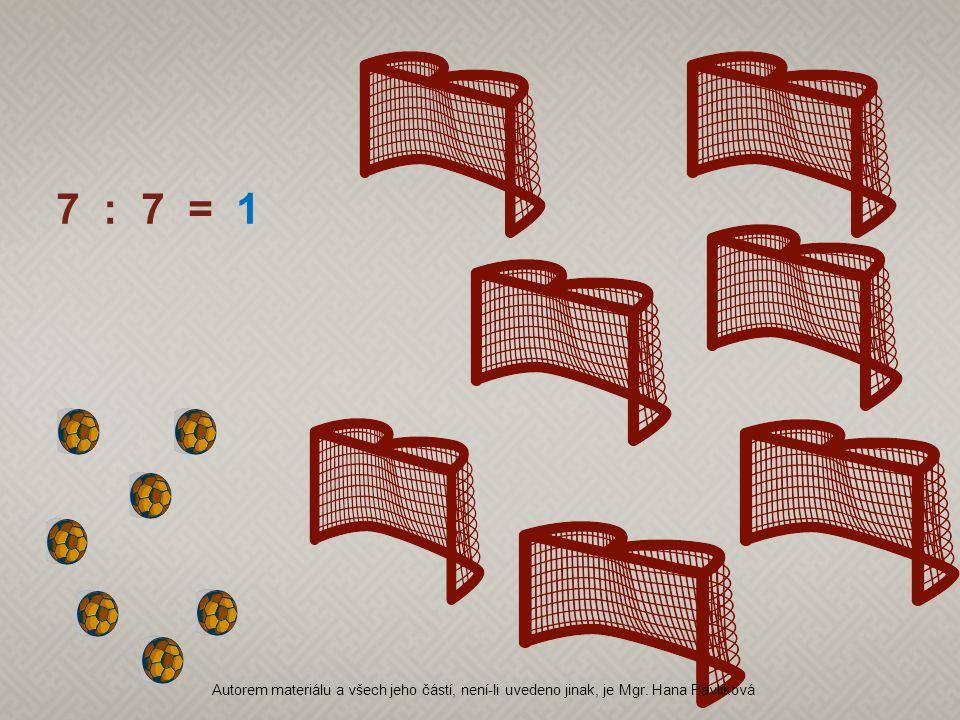 7 : 7 = 1 Autorem materiálu a všech jeho částí, není-li uvedeno jinak, je Mgr. Hana Pavlíková