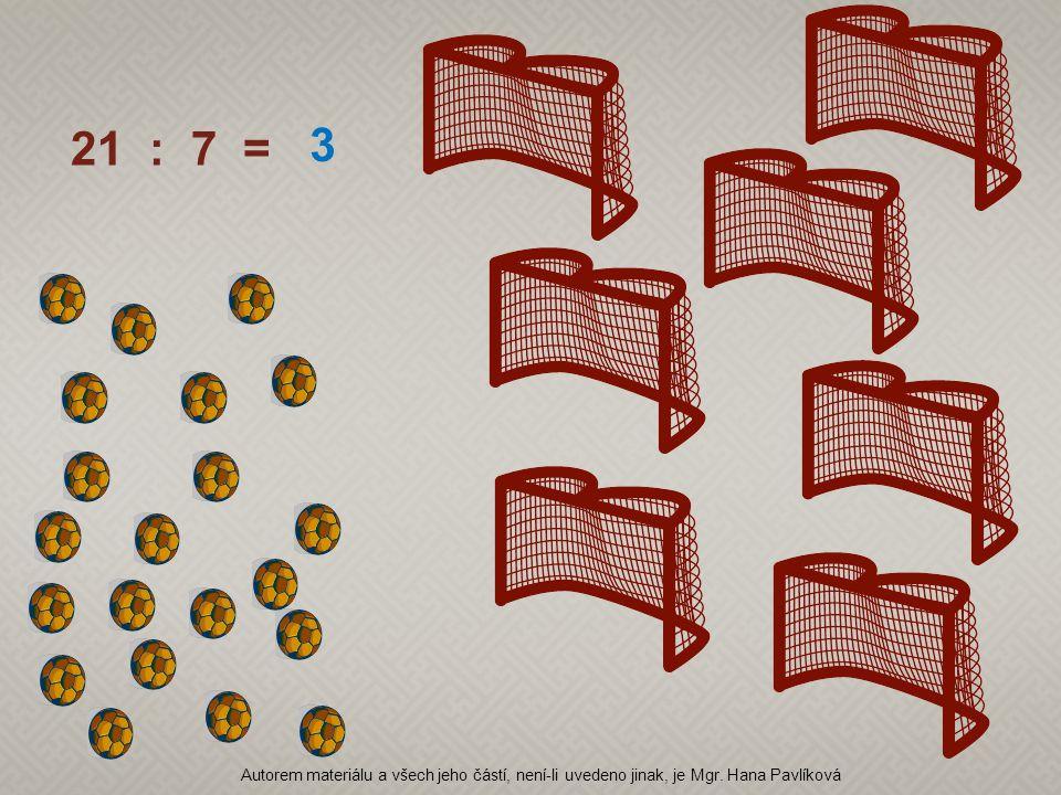 21 : 7 = 3 Autorem materiálu a všech jeho částí, není-li uvedeno jinak, je Mgr. Hana Pavlíková