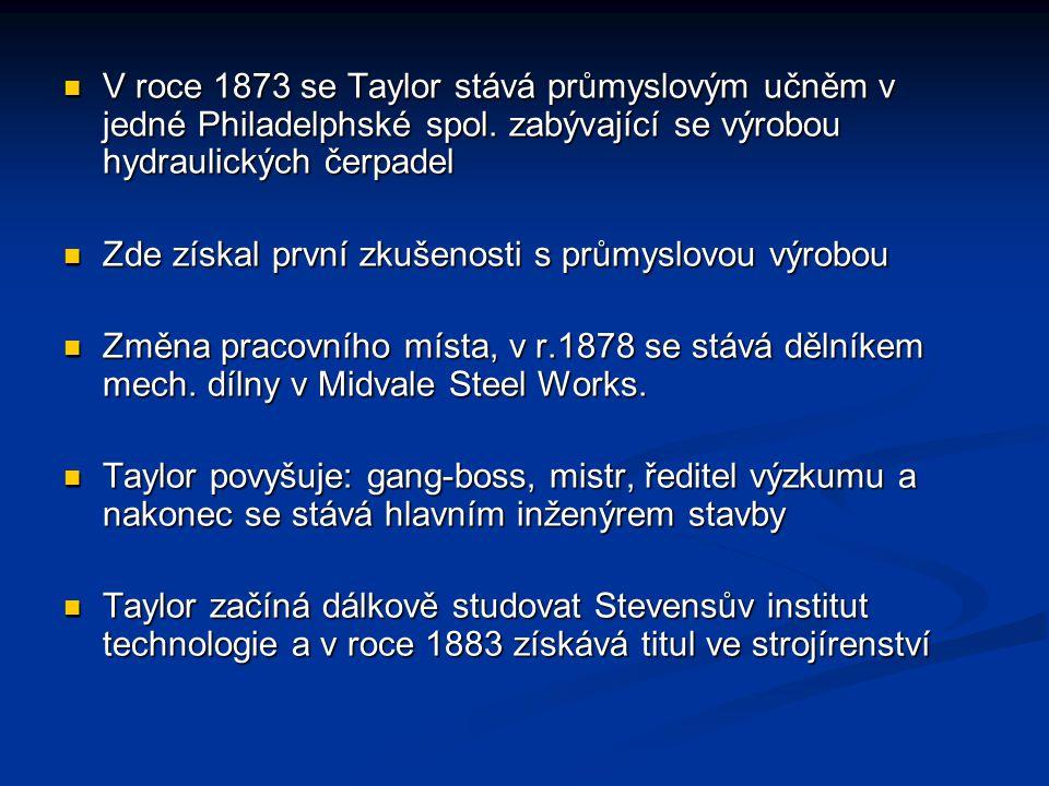 V roce 1873 se Taylor stává průmyslovým učněm v jedné Philadelphské spol. zabývající se výrobou hydraulických čerpadel