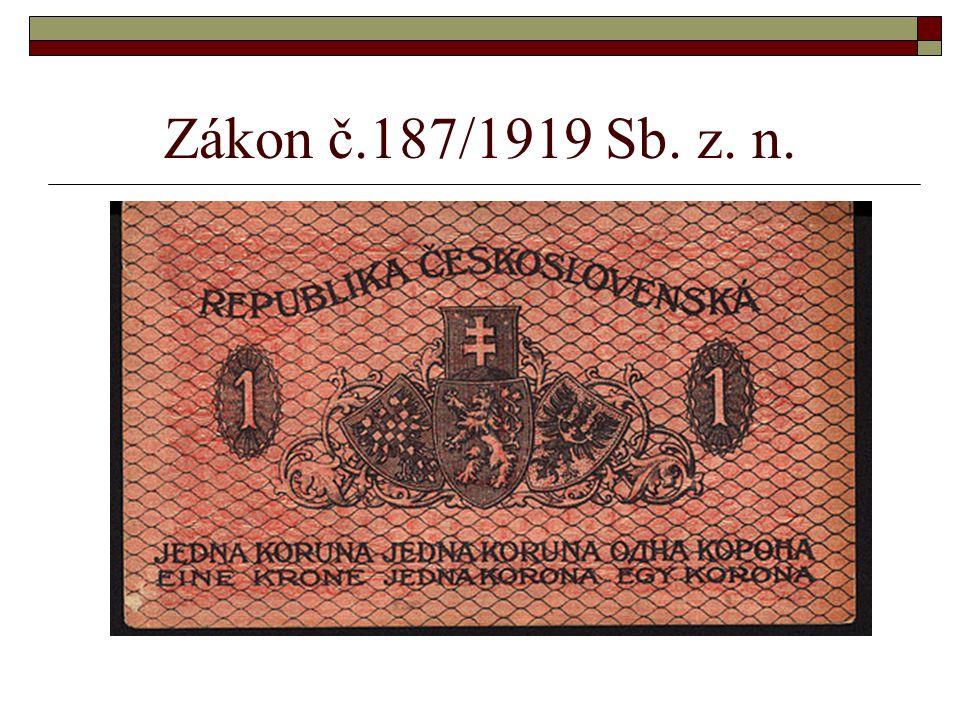 Zákon č.187/1919 Sb. z. n.
