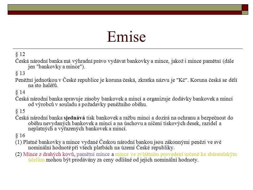 Emise § 12. Česká národní banka má výhradní právo vydávat bankovky a mince, jakož i mince pamětní (dále jen bankovky a mince ).