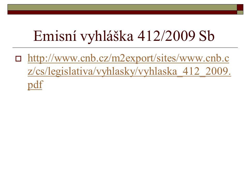 Emisní vyhláška 412/2009 Sb http://www.cnb.cz/m2export/sites/www.cnb.cz/cs/legislativa/vyhlasky/vyhlaska_412_2009.pdf.