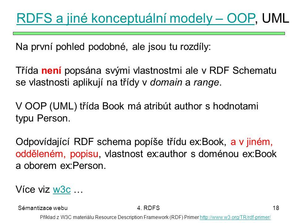 RDFS a jiné konceptuální modely – OOP, UML