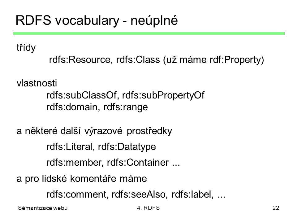 RDFS vocabulary - neúplné