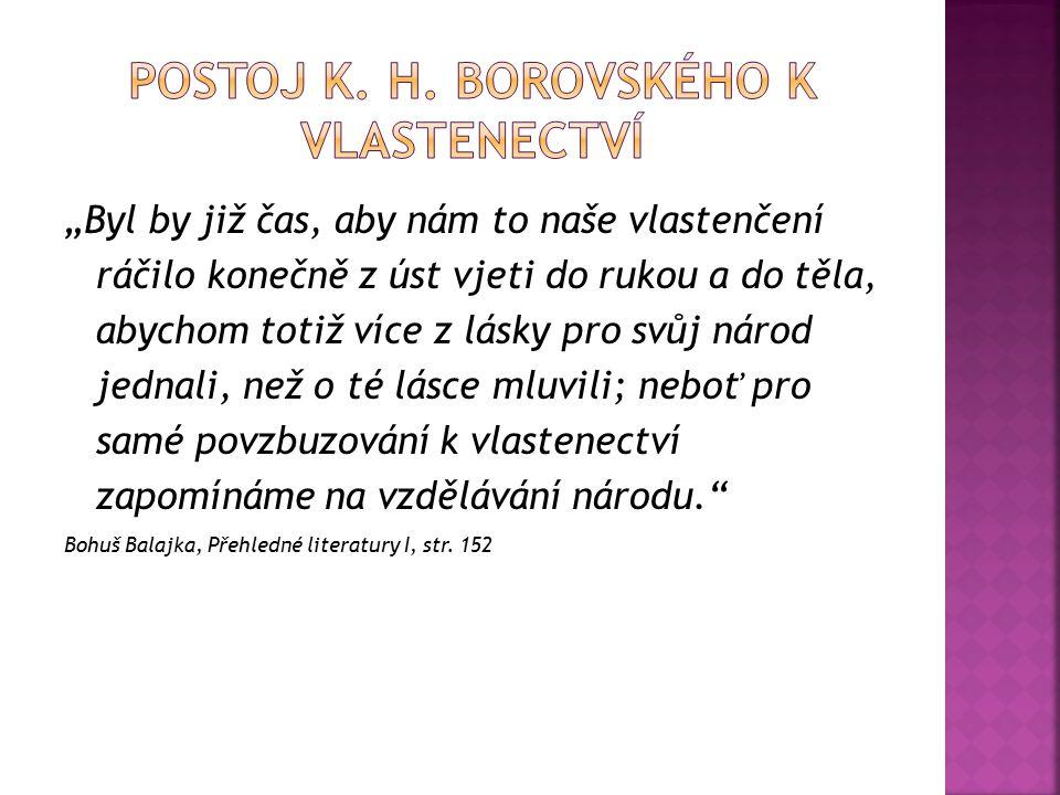 Postoj k. h. borovského k vlastenectví