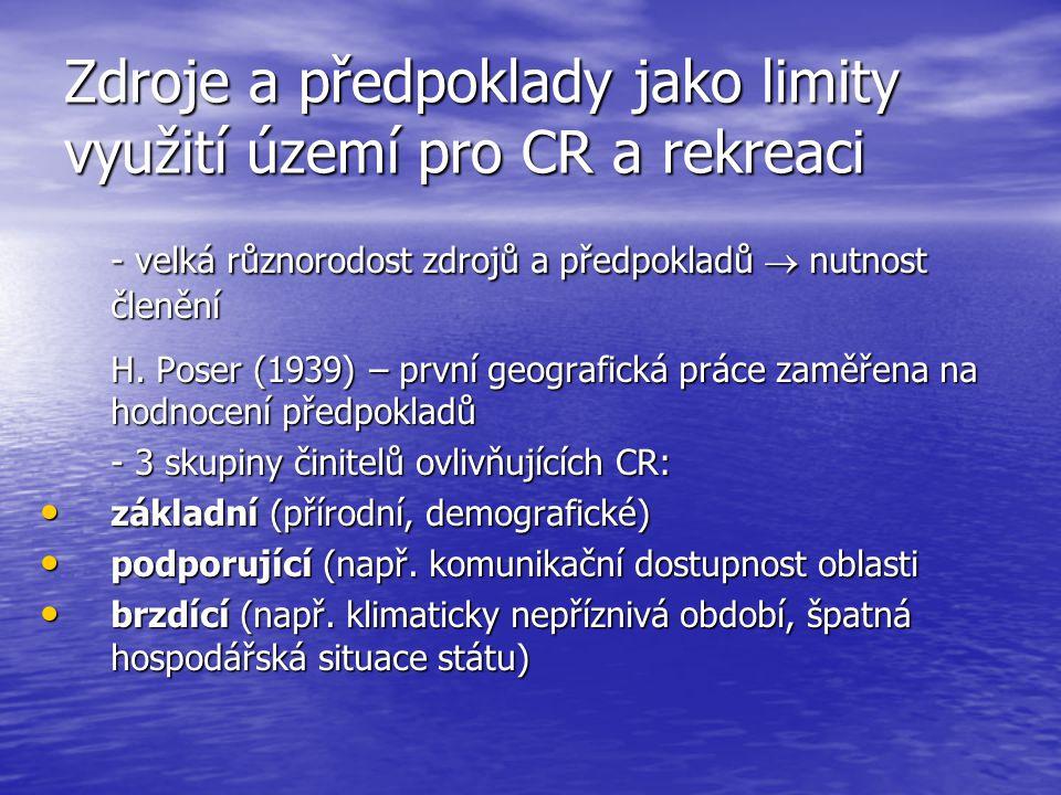 Zdroje a předpoklady jako limity využití území pro CR a rekreaci