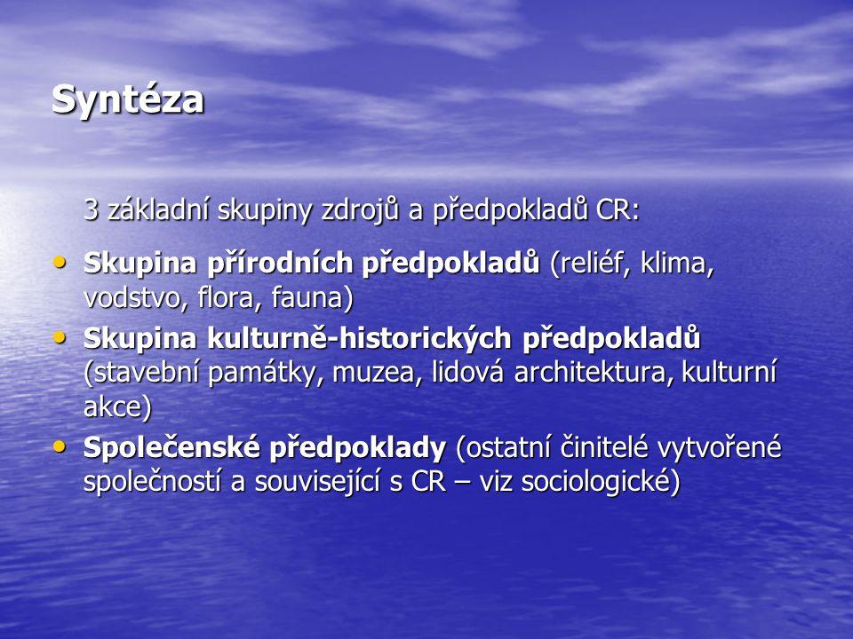 3 základní skupiny zdrojů a předpokladů CR: