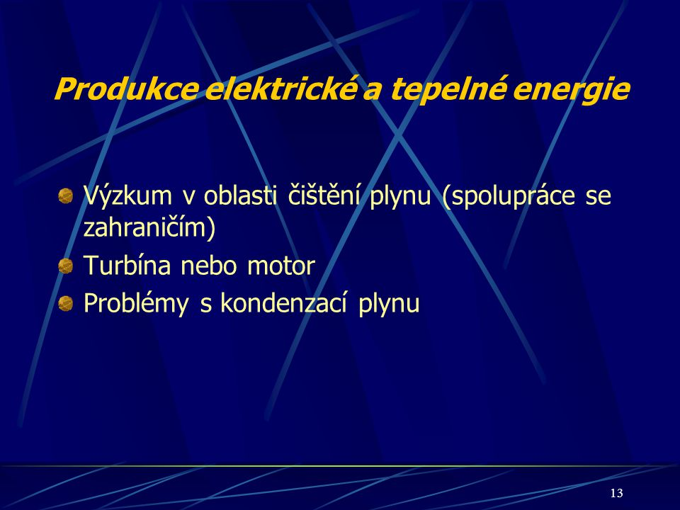 Produkce elektrické a tepelné energie