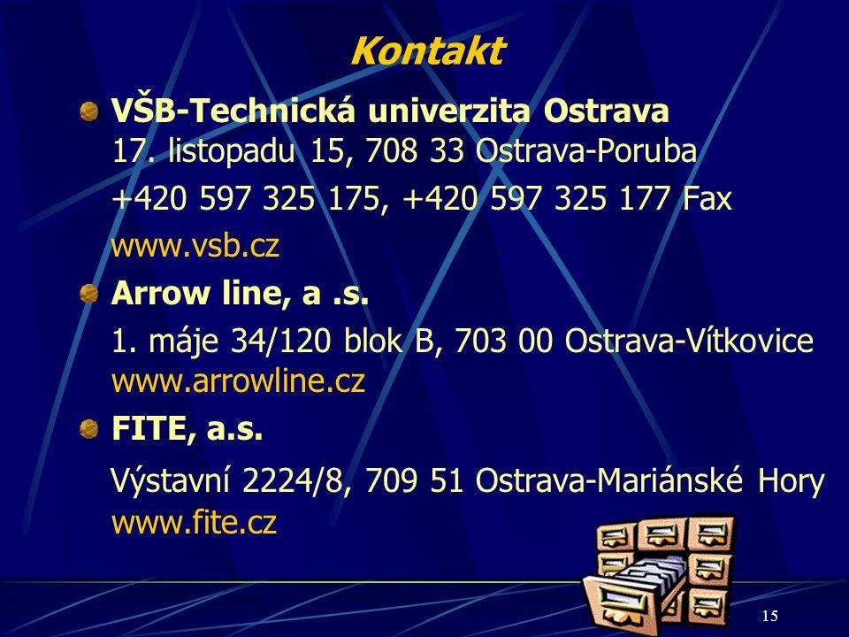 Kontakt VŠB-Technická univerzita Ostrava 17. listopadu 15, 708 33 Ostrava-Poruba. +420 597 325 175, +420 597 325 177 Fax.