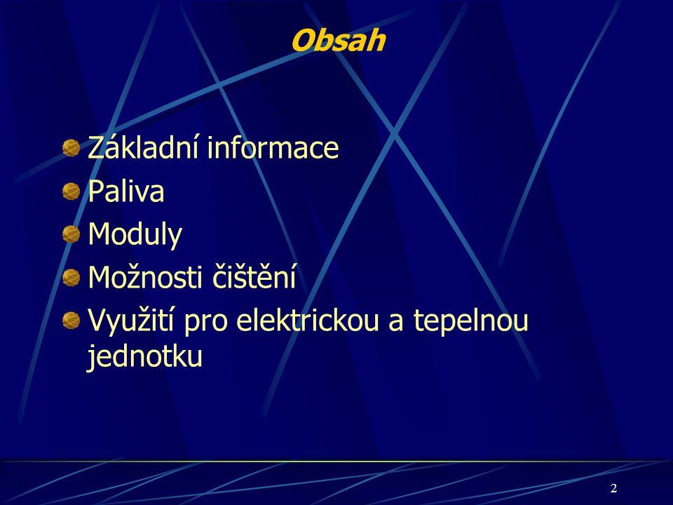 Obsah Základní informace Paliva Moduly Možnosti čištění Využití pro elektrickou a tepelnou jednotku