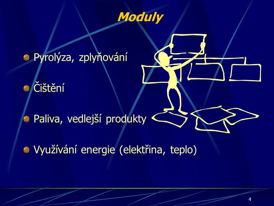 Moduly Pyrolýza, zplyňování Čištění Paliva, vedlejší produkty