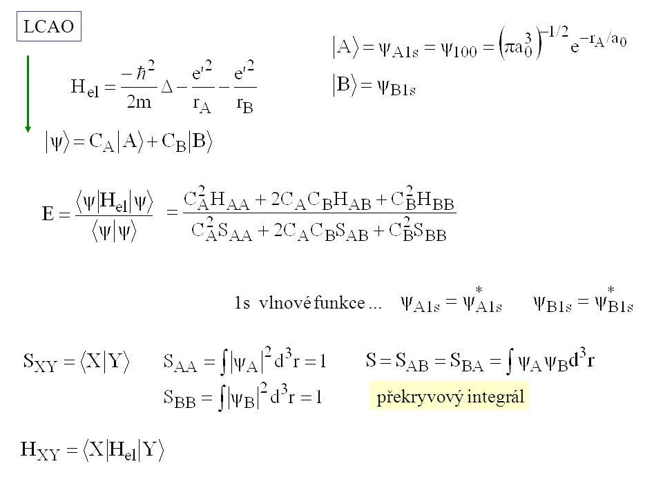 LCAO 1s vlnové funkce ... překryvový integrál