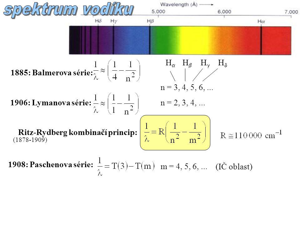 spektrum vodíku H H H H 1885: Balmerova série: n = 3, 4, 5, 6, ...