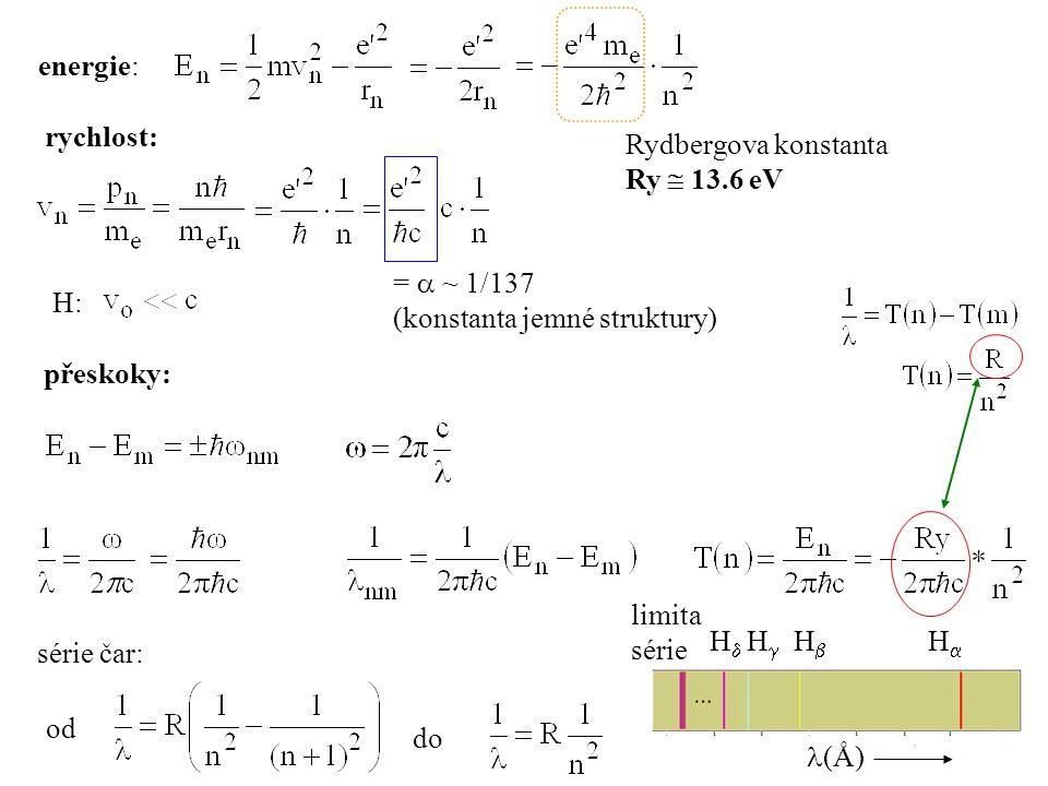 energie: rychlost: Rydbergova konstanta. Ry  13.6 eV. =  ~ 1/137. (konstanta jemné struktury)
