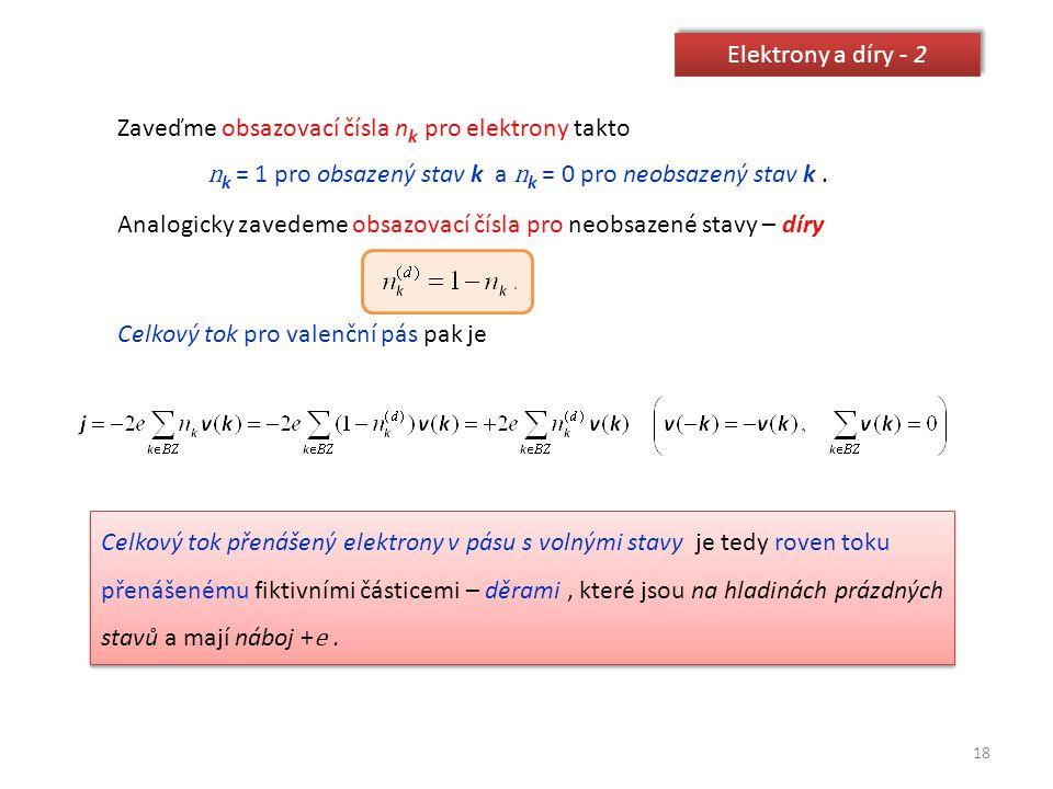 nk = 1 pro obsazený stav k a nk = 0 pro neobsazený stav k .