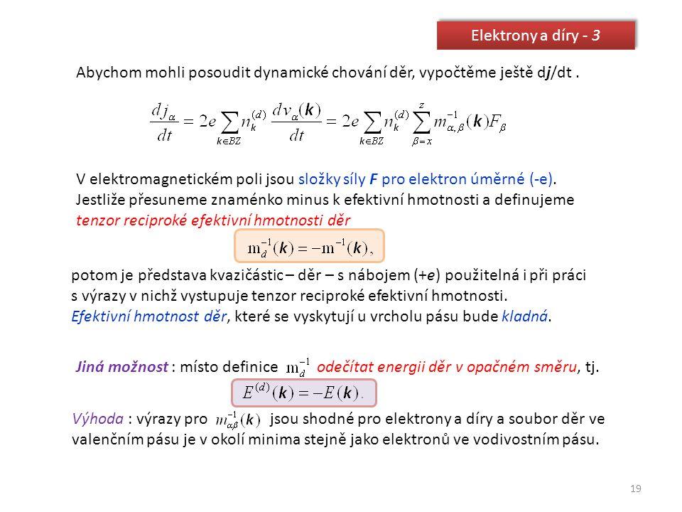 Elektrony a díry - 3 Abychom mohli posoudit dynamické chování děr, vypočtěme ještě dj/dt .