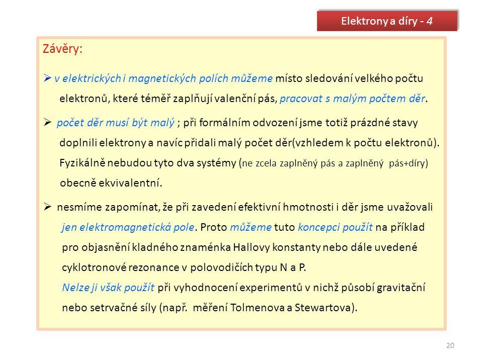 Závěry: Elektrony a díry - 4