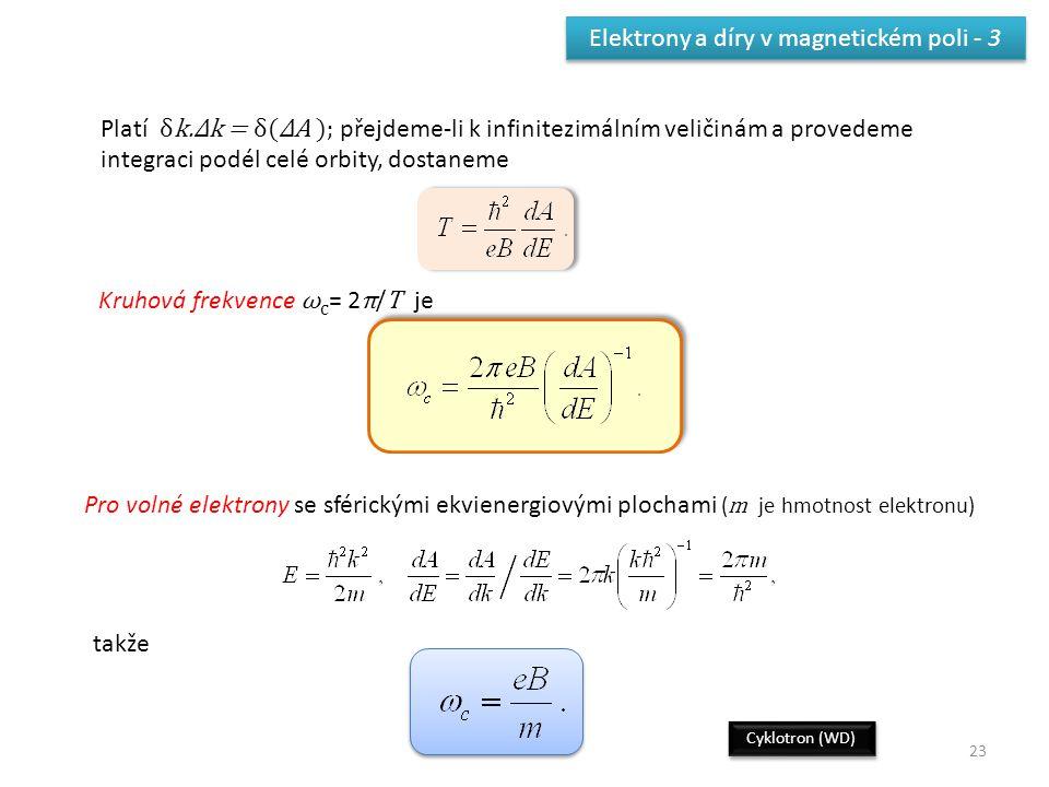 Elektrony a díry v magnetickém poli - 3