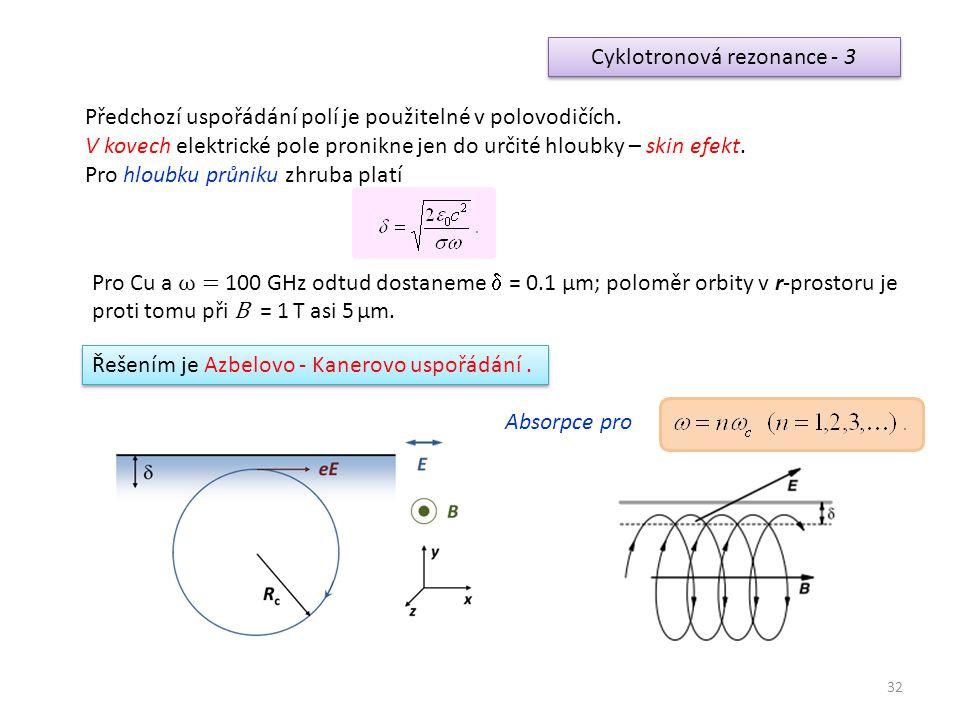 Cyklotronová rezonance - 3