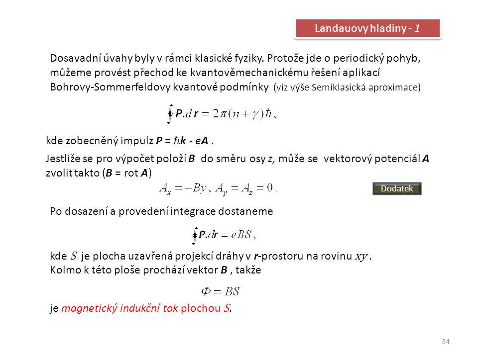 kde zobecněný impulz P = ℏk - eA .