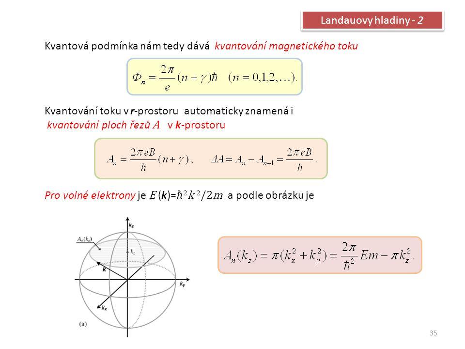 Landauovy hladiny - 2 Kvantová podmínka nám tedy dává kvantování magnetického toku. Kvantování toku v r-prostoru automaticky znamená i.