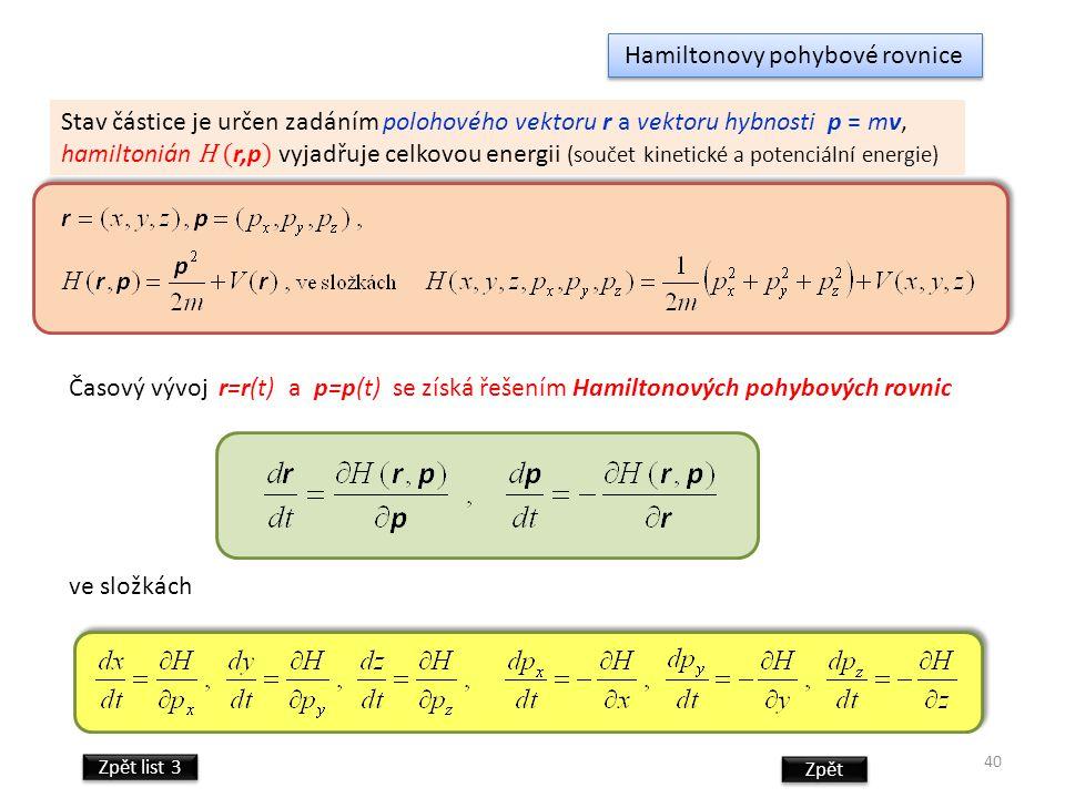 Hamiltonovy pohybové rovnice