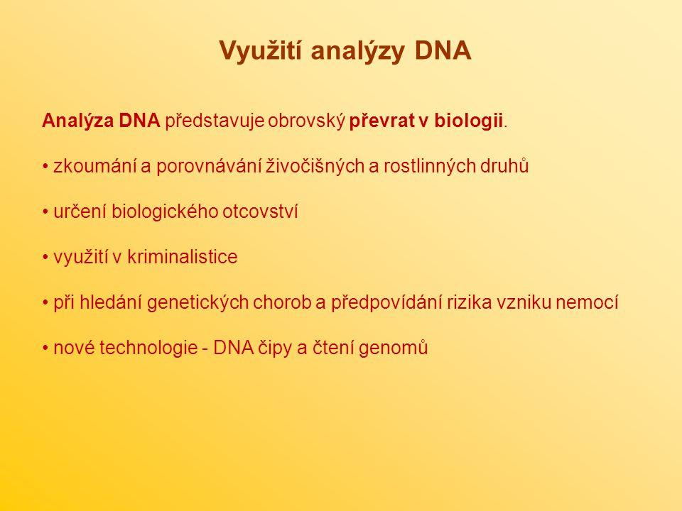 Využití analýzy DNA Analýza DNA představuje obrovský převrat v biologii. zkoumání a porovnávání živočišných a rostlinných druhů.