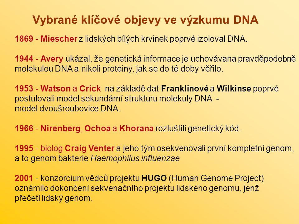 Vybrané klíčové objevy ve výzkumu DNA