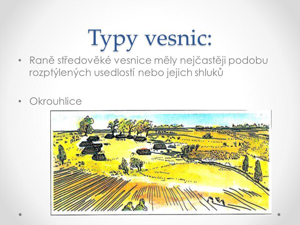 Typy vesnic: Raně středověké vesnice měly nejčastěji podobu rozptýlených usedlostí nebo jejich shluků.