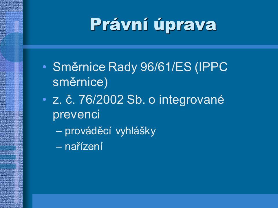 Právní úprava Směrnice Rady 96/61/ES (IPPC směrnice)