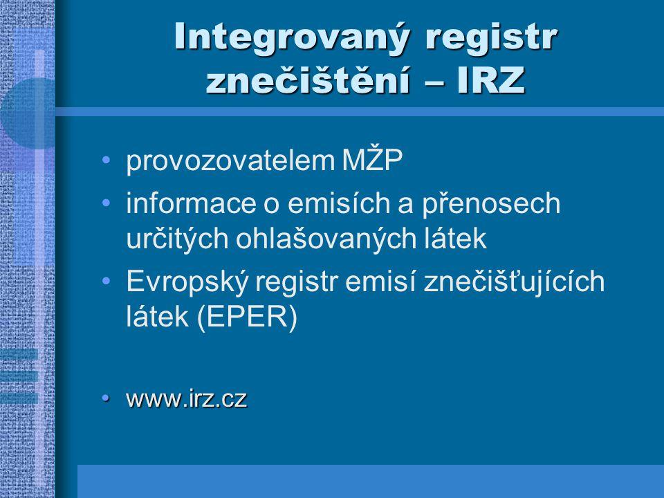 Integrovaný registr znečištění – IRZ